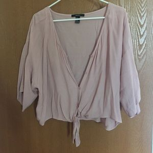 Pink float blouse that buttons up